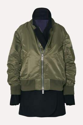Sacai Ma-1 X Melton Asymmetric Layered Shell And Wool-blend Felt Jacket - Green