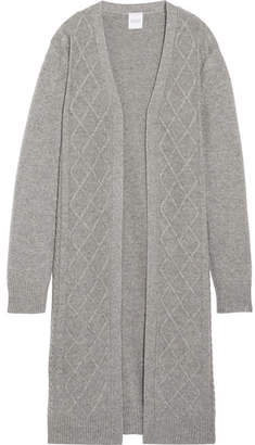 Madeleine Thompson Cable-knit Wool And Cashmere-blend Cardigan - Gray