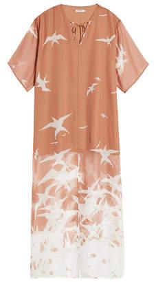 J. Lindeberg Layla Nude Bird Print Kaftan Dress