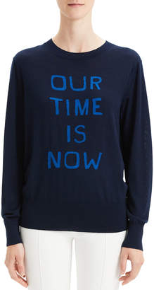 """Theory Our Time Is Now"""" Silk-Cashmere Intarsia Pullover Sweater"""