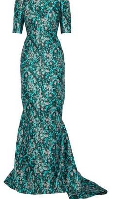 J. Mendel J.mendel Off-The-Shoulder Metallic Jacquard Gown
