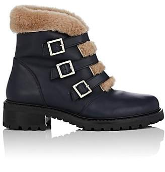 Barneys New York Women's Leather & Shearling Ankle Boots - Navy