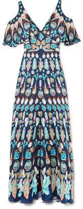Temperley London Quartz Cold-shoulder Printed Silk Crepe De Chine Gown - Blue