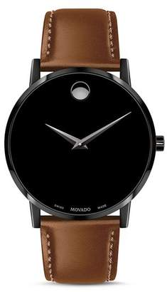 Movado Museum Classic Brown Leather Strap Watch, 40mm