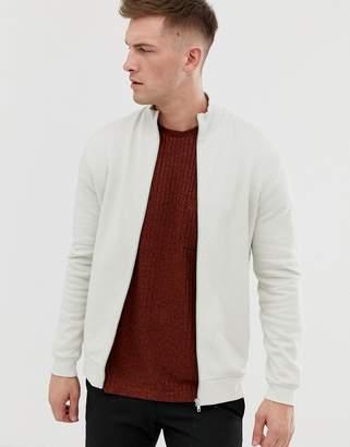Asos Design DESIGN jersey track jacket in light grey