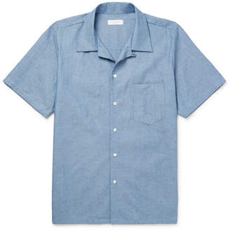 Richard James Camp-Collar Cotton-Chambray Shirt
