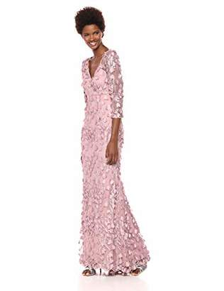 Carmen Marc Valvo Women's 3Dnovelty Floral V Neck Gown,8