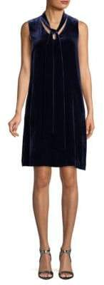 Lafayette 148 New York Velvet Tie Neck Silk-Blend Dress