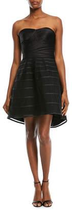 Halston Strapless Striped Cocktail Dress