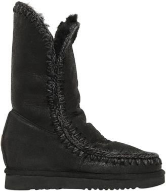70mm Eskimo Shearling Wedge Boots $391 thestylecure.com