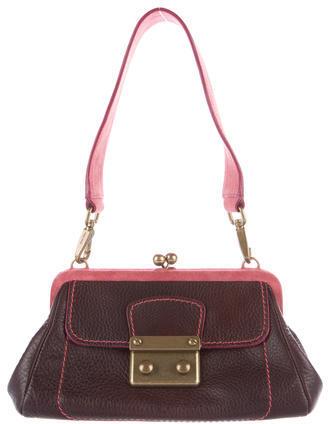 Miu MiuMiu Miu Suede-Trimmed Leather Bag