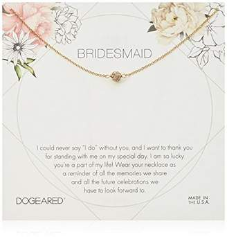 Dogeared Bridesmaid Flower Card Pave Sparkle Ball Chain Necklace