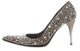 Versace Studded Pointed-Toe Pumps