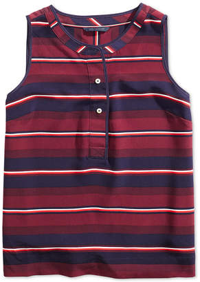 Tommy Hilfiger Adaptive Women Sleeveless Striped Shirt with Magnetic Buttons