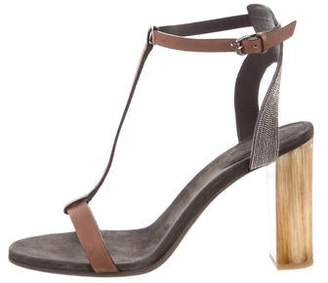 Brunello Cucinelli Jewel T-strap Sandals