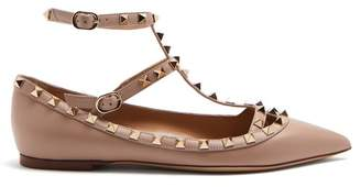 Valentino Rockstud Leather Flats - Womens - Nude