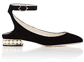 Nicholas Kirkwood Women's Lola Suede Ankle-Strap Ballet Flats-Black