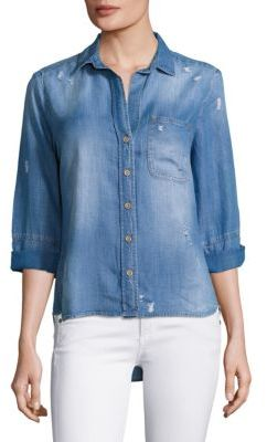 Bella Dahl Distressed Chambray Shirt $146 thestylecure.com