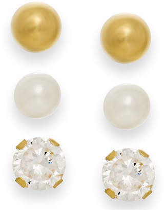 Macy's Cultured Freshwater Pearl, Cubic Zirconia and Ball Stud Set in 10k Gold
