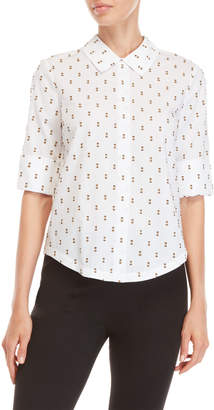 Derek Lam 10 Crosby White Tie-Back Short Sleeve Shirt