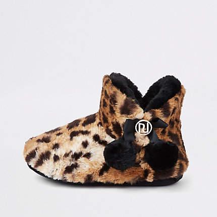 River Island Brown leopard fluffy pom pom bootie slippers