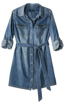Mossimo Women's Plus-Size 3/4-Sleeve Denim Shirt Dress - Blue