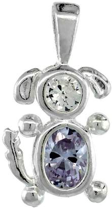 Sabrina Silver Sterling Silver Birthstone Dog Brat Charm June Color Cubic Zirconia