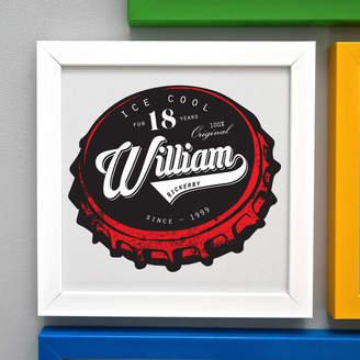Pepper Print Shop Personalised 18th Birthday Beer Bottle Top Framed Print