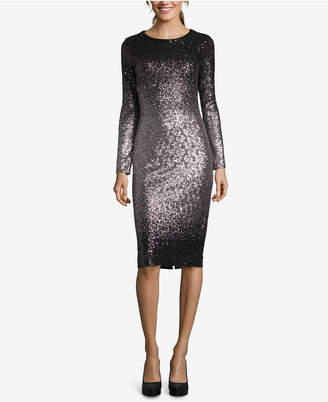 Betsy & Adam Ombre Sequined Sheath Dress
