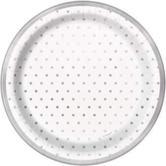 Unique Industries Foil Elegant Silver Polka Dot Paper Dessert Plates, 7 in, 8ct