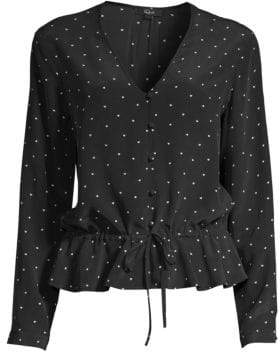 Rails Beaux Polka Dot Button-Front Tie-Waist Silk Blouse