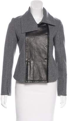 Diane von Furstenberg Leather-Trimmed Cropped Jacket