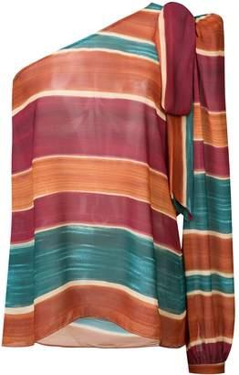 PatBO Rio stripe one-shoulder blouse