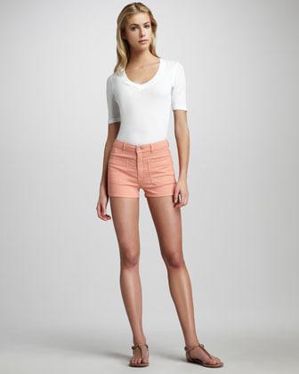 Mother High-Waist Patch-Pocket Shorts