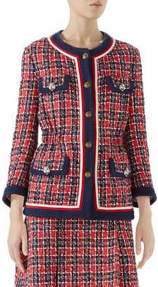 Gucci Cinch Waist Tweed Jacket
