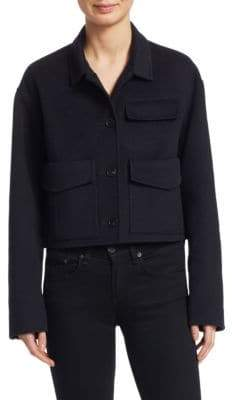 Carven Women's Wool-Blend Cropped Marine Coat - Marine - Size 38 (6)