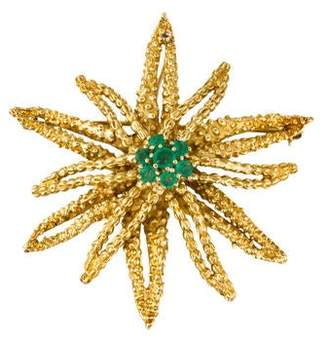 18K Emerald Starburst Brooch Pendant