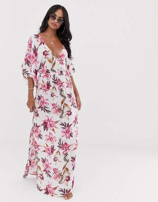 Asos Design DESIGN maxi dress with kimono sleeve in painted floral print
