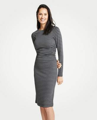 Ann Taylor Petite Stripe Ruched Knit Sheath Dress