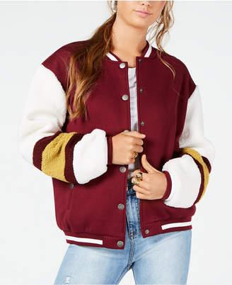 Say What Juniors' Varsity Sherpa Bomber Jacket