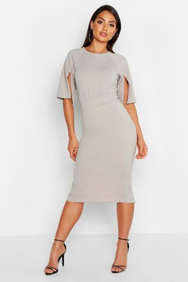 boohoo Split Sleeve Detail Wiggle Midi Dress