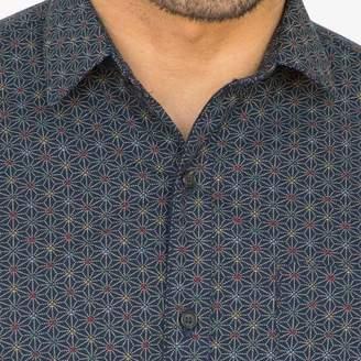 Blade + Blue Navy Blue Geometric Floral Print Shirt - Clarkson