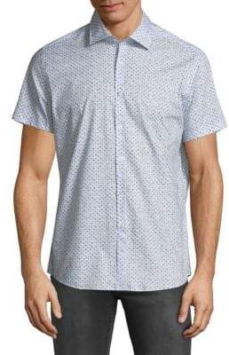 Stone Rose Printed Short-Sleeve Button-Down Shirt