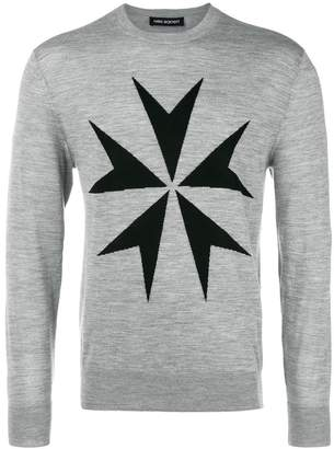 Neil Barrett contrast star jumper
