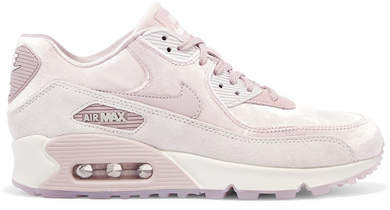 Nike - Air Max 90 Lx Velvet And Suede Sneakers - Blush