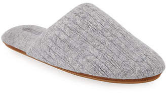 Neiman Marcus Cable-Knit Cashmere Slippers