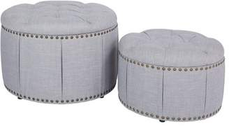 Ave Six AVE-SIX Elsie Skirted Storage Ottoman Set in Milford Dove with Antique Bronze Nailheads