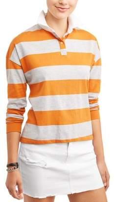 Self Esteem Juniors' Chunky Stripe Colorblock Long Sleeve Polo