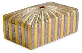 L'OBJET Voyage d'Or 24K Yellow Gold, Semi-Precious Cabochon & Limoges Porcelain Rectangular Box
