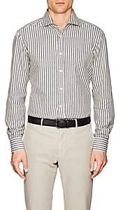 Kiton Men's Striped Cotton Flannel Shirt - White Pat.